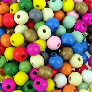 Wooden Round Beads, Pack 200, 35g  Choose Colour,  Wood Craft Bead, 8 mm