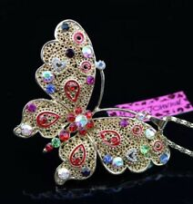 Betsey Johnson Necklace BUTTERFLY Rainbow Colors  Enamel Gold Crystals