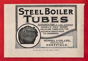 Vintage Advert 1931 ~ Howell & Co Ltd of Sheffield - Steel Boiler Tubes