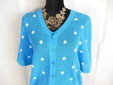 Cotton Mesh Shirt Sweater CARDIGAN Top Turquoise 2X