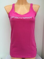 EMPORIO ARMANI Raspberry/Pink Diamanté Logo Tank Top Sizes S & M BNWT