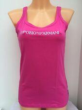 EMPORIO ARMANI Raspberry/Pink Diamanté Logo Tank Top Sizes XS-L BNWT