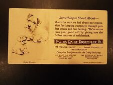 Vintage Pacific Dairy Equipment Co Advertising Blotter