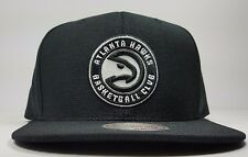Mitchell & Ness Atlanta Hawks Black White Solid Wool HWC Snapback Hat Cap NBA