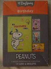 NIB DAY SPRING PEANUTS BIRTHDAY CARD ASSORTMENT - 4 DESIGNS W/SAYINGS -12 TOTAL
