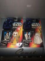 vintage star wars Lot Of 2 POTF Figures 1995 Luke Skywalker, Princess Leia Mosc
