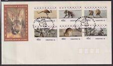 Australia FDC Counter Printed Stamps Singapore 95 Overprint Kangaroos/Koalas