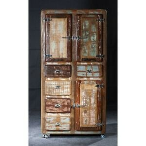 Cromer Retrostyle Reclaimed Wood 2 Door Cabinet On Wheels Natural(MADE TO ORDER)