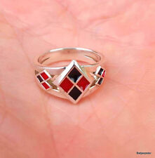 Custom Harley Quinn Inspired Red and Black Enamel Suicide Squad 925 Silver Ring