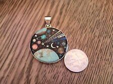 Cosmic Pendant in Sterling Silver Handcarved Stone Opal Planets