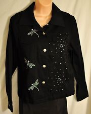 women's Eminent by Lisa black jackets size 12 bling dragonflies button front new
