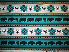 Navajo Native American Totem Buffalo Border Teal Cotton Fabric BTHY