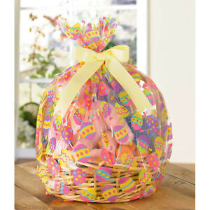 Easter Egg Printed Basket Hamper Bags Cellophane Gift Wrap Party Bags 2 pack