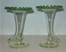 Pair of Fry Art Glass Cornucopia Vases