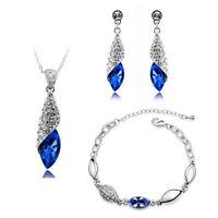 Jewellery Set Dark Royal Blue Crystal Teardrop Earrings Necklace & Bracelet S286