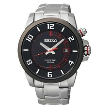 NEW SEIKO SKA553 Kinetic Black Dial Stainless Steel Red Watch