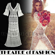 VINTAGE MONSOON CROCHET DRESS WEDDING M L 10 12 14 16 LACE 30s 70s BOHO STUNNING