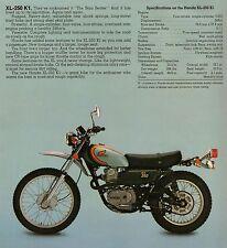 1974 HONDA XL250K1 XL 250K1 SPECS AD VINTAGE AHRMA