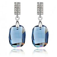 18K White Gold Plated Made With Swarovski Crystal Clear Ink Blue Earrings
