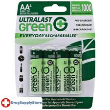 PE Green Everyday Rechargeables AA NiMH Batteries, 4 pk