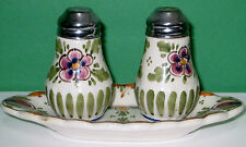 VINTAGE BEAUTIFUL SALT AND PEPPER SHAKER WITHS LITTLE GLASS TRAY