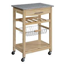 Kitchen Island Granite Top Caster Wheel Drawer Shelves Wire Basket Wine Rack New