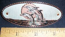 DOLPHIN TRIO DESIGN -HAND ENGRAVED COPPER BARRETTE W/SILVER PLATE & BLACK ENAMEL
