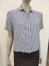 Topshop Tall - Womens Indigo / White Gingham Check Cropped Blouse - size 10 Tall