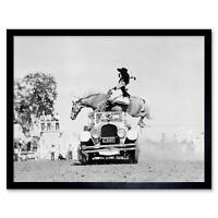 Vintage B&W King Tut Horse Jump Car Dressage Equestrian 12X16 Inch Framed Print