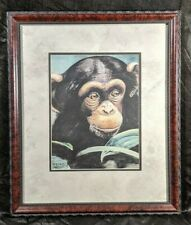 Holly Vaughan Signed Limited Edition Chimp Lithograph w/ Frame 23X19