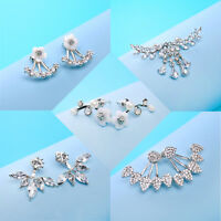 5 Pairs Korean Women Jewelry Crystal Rhinestone Leaf Flower Ear Stud Earrings