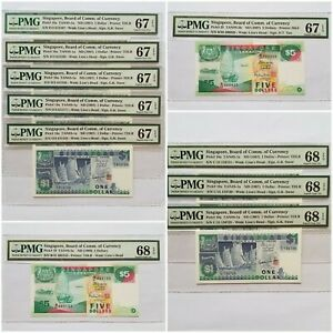 $1-$5 <1987-97> SINGAPORE BOARD OF COMM.OF CURRENCY PMG 67/68 (10 NOTES)