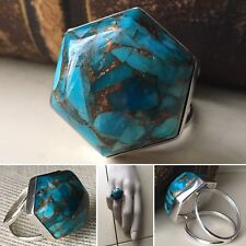 Vintage Sterling Silver Statement Azurite Chrysocolla Lapis Ring 💍 Sz 8