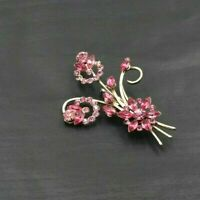 HIGH END Vintage Jewelry JULIANA Hot Pink Flower BROOCH PIN Rhinestone a42