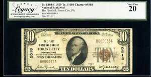 1929 $10 1st National Bank Forest City PA Fr. 1801-1 Ch 5518 VF20 #B000088A