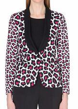 KORS Negro, rosa caliente MICHAEL Y Blanco Estampado de Leopardo Esmoquin Chaqueta Tamaño UK 8 BNWT