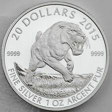 Canada 2015 $20 American Scimitar Sabre-Tooth Cat 1 oz. 99.99% Pure Silver Coin