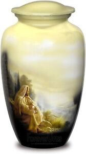 Urns For Human Ashes-Sitting Jesus Pictured Adult Cremation Urn For Human Ashes