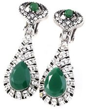 Silver & Green Diamante Crystal Long Dangle Clip On Earrings Non Pierce UK E134