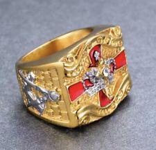 Masonic Ring Freemason Men Stainless Crystal Gold G Pillar Cross Knights Templar