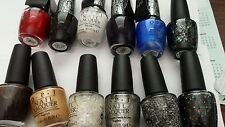 New OPI Lot Of 12 OPI Full Size Nail Lacquers Brown Black White Red Blue Sparkle