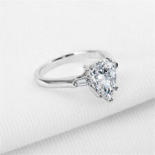 2ct Sona Simulated Diamond 925 Silver Ring Women's Wedding Ring PEAR Shape Ring 9