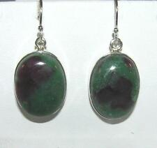 Ruby Zoisite Large Oval Dangle Earrings Sterling Silver French Wires