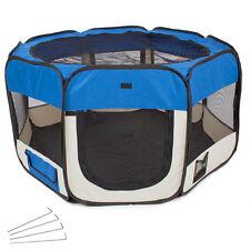 Parc à chiots chatons Enclos pliable bleu transportable pour chiens ou chats