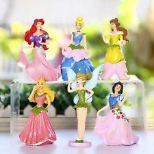 6x Princess Snow White Cinderella 9cm Figure Cake Topper Kid Toy New Year Gift