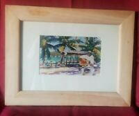 """Watercolor Art by MITCH GIBBS 2001 In Wooden Frame 15""""x19.5"""""""