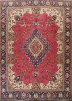 9x12 Vintage Oriental Floral Traditional Red Hand-Knotted Area Rug Wool Carpet