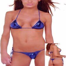 369 - Sexy metallic blue pvc halter tie thong back skimpy Brazilian bikini 10/12