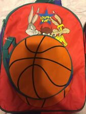 New Vintage Looney Tunes Basketball Backpack Red, Removable Insulated Lunch Bag