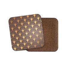 Gold Art Deco Coaster - Vintage Elegant Pattern Aztec Geometric Fun Gift #12761